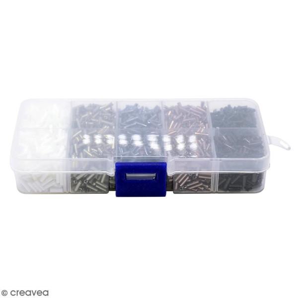 Perles tubes en verre 6 mm - Assortiment Noir Blanc et Gris - 3000 pcs environ - Photo n°3