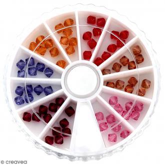 Perles en cristal autrichien 4 mm - Camaïeu rouge - 72 pcs