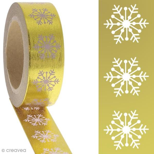 Washi tape Foil - Flocons roses sur fond doré - 1,5 cm x 10 m - Photo n°2