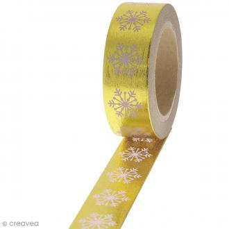 Washi tape Foil - Flocons roses sur fond doré - 1,5 cm x 10 m