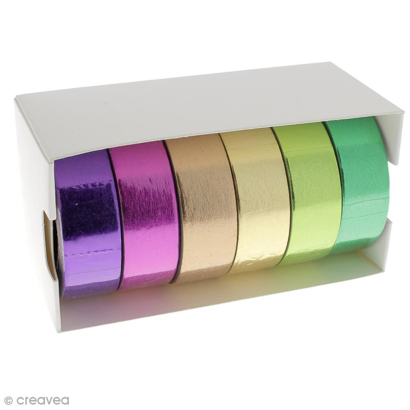 Assortiment Masking tape Foil - Couleurs métallisées vives - 1,5 cm x 10 m - 6 pcs - Photo n°2