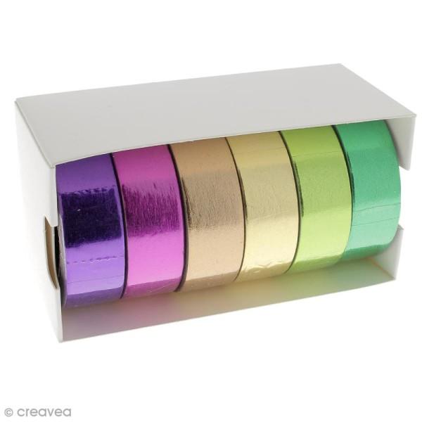 Assortiment Masking tape Foil - Couleurs métallisées vives - 1,5 cm x 10 m - 6 pcs - Photo n°2