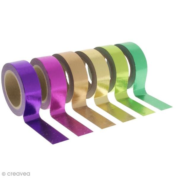 Assortiment Masking tape Foil - Couleurs métallisées vives - 1,5 cm x 10 m - 6 pcs - Photo n°1