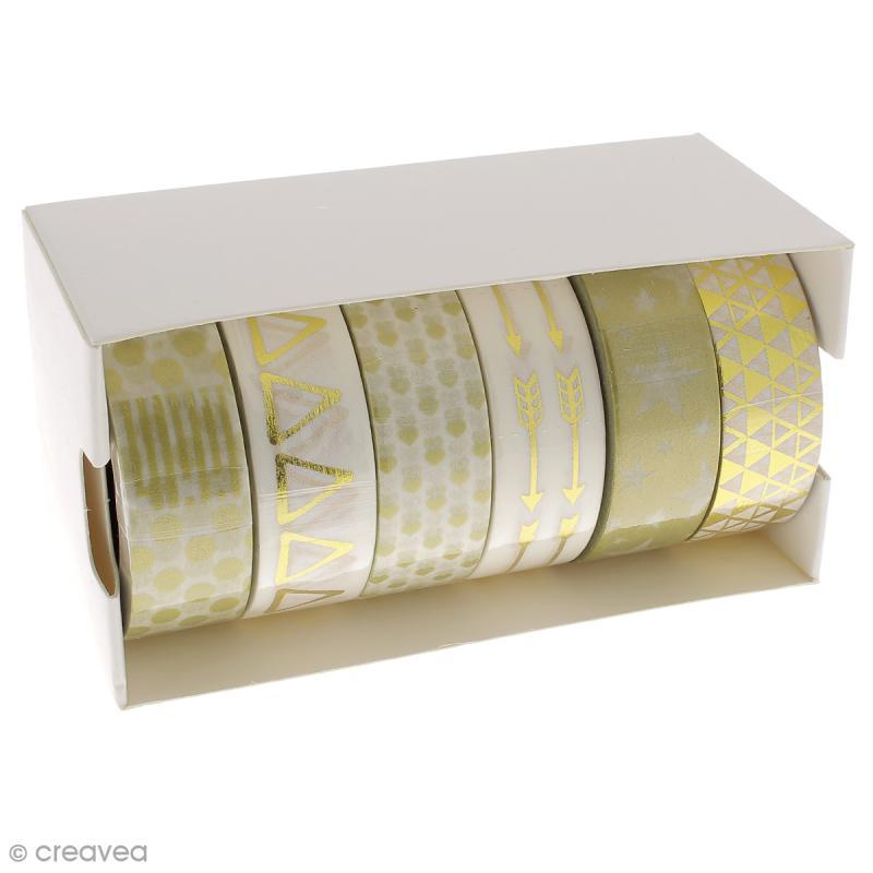 Assortiment Masking tape Foil - Motifs géométriques - Doré - 1,5 cm x 10 m - 6 pcs - Photo n°2