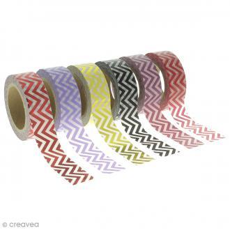 Assortiment Masking tape Foil - Zigzag - Couleurs vives - 1,5 cm x 10 m - 6 pcs