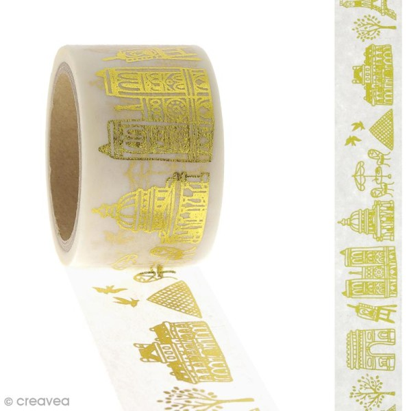 Masking tape Paysage Paris - Doré - 2,45 cm x 5 m - Photo n°2