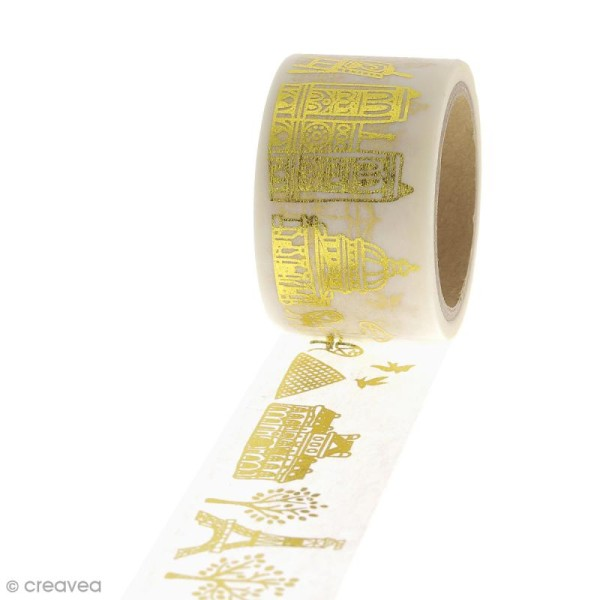 Masking tape Paysage Paris - Doré - 2,45 cm x 5 m - Photo n°1