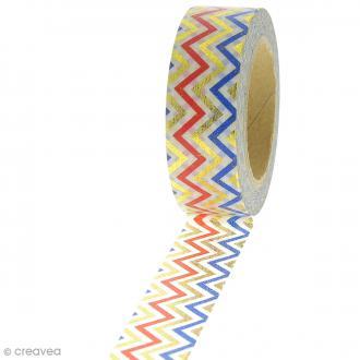 Masking tape Zigzag - Doré, rouge, bleu - 1,5 cm x 10 m