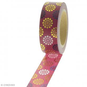 Masking tape Fleurs folk sur fond Rouge bordeaux - 1,5 cm x 10 m