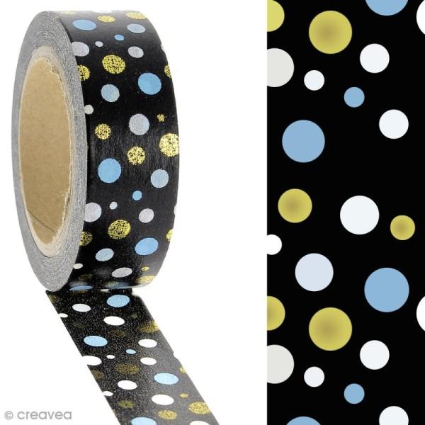 Masking tape Pois multicolores sur fond Noir - 1,5 cm x 10 m - Photo n°2