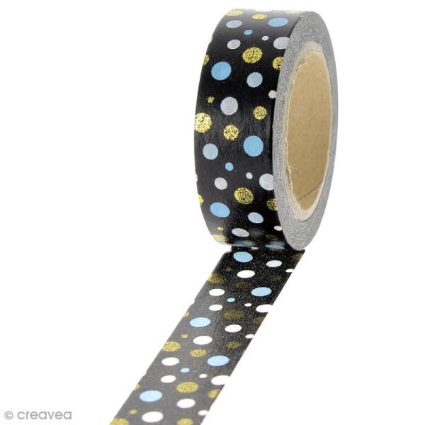 Masking tape Pois multicolores sur fond Noir - 1,5 cm x 10 m - Photo n°1