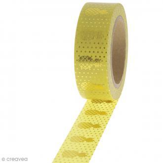 Masking tape Ananas dorés sur fond Jaune - 1,5 cm x 10 m
