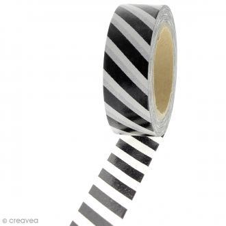 Masking tape Rayures - Blanc et noir - 1,5 cm x 10 m