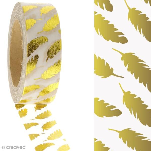 Masking tape Plumes dorées sur fond Blanc - 1,5 cm x 10 m - Photo n°2