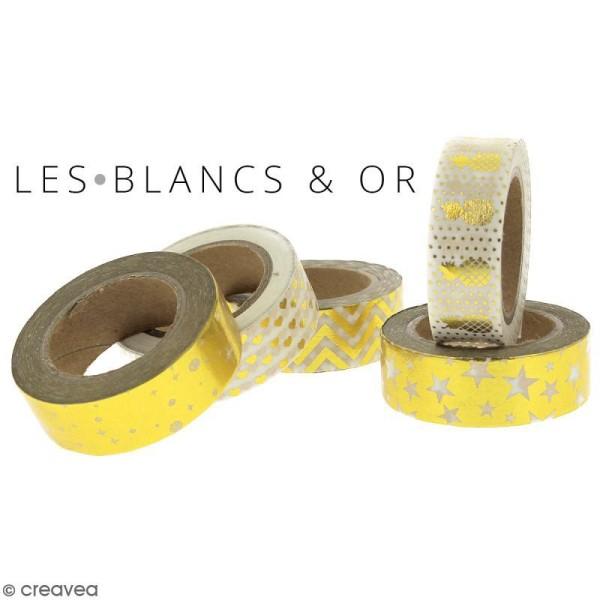 Masking tape Plumes dorées sur fond Blanc - 1,5 cm x 10 m - Photo n°3