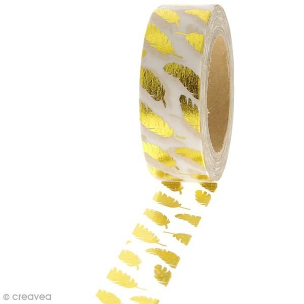 Masking tape Plumes dorées sur fond Blanc - 1,5 cm x 10 m - Photo n°1