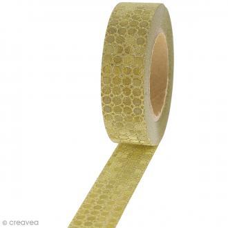 Masking tape Glitter Mini pois sur fond Doré - Résistant -1,5 cm x 10 m