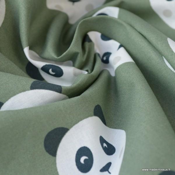 Tissu coton motif panda fond Kaki - Oeko tex - Photo n°2