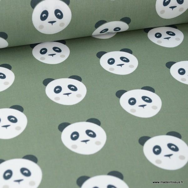 Tissu coton motif panda fond Kaki - Oeko tex - Photo n°1