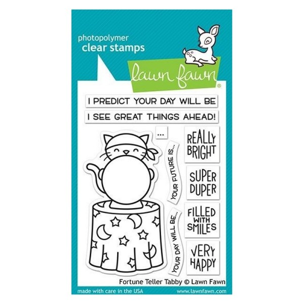 Tampon transparent Lawn Fawn - Fortune Teller Tabby - 10 pcs - Photo n°1