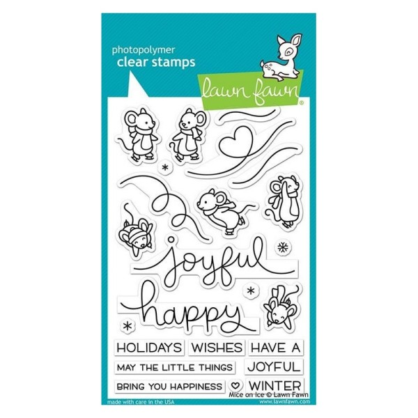Tampon transparent Lawn Fawn - Mice on Ice - 24 pcs - Photo n°1