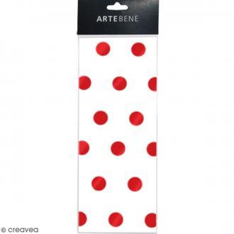 Papier de soie - Blanc - Pois Rouges - 50 x 70 cm - 3 pcs