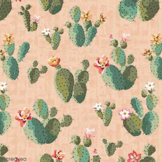 Serviette en papier - Cactus sur Fond rose saumon - 20 pcs