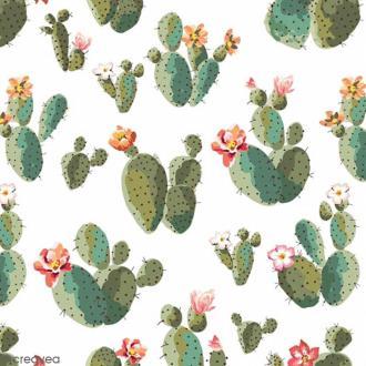 Serviette en papier - Cactus sur Fond blanc - 20 pcs