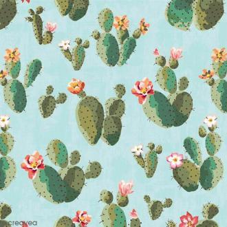 Serviette en papier - Cactus sur Fond bleu - 20 pcs