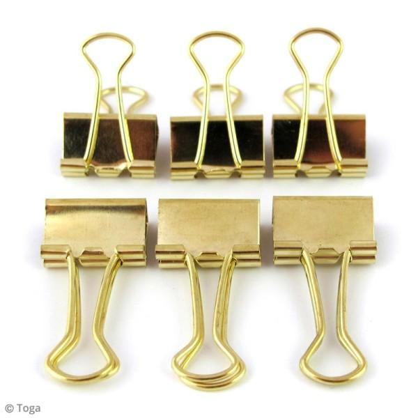 Pinces clip 3,8 x 1,9 cm - Dorées - 6 pcs - Photo n°2