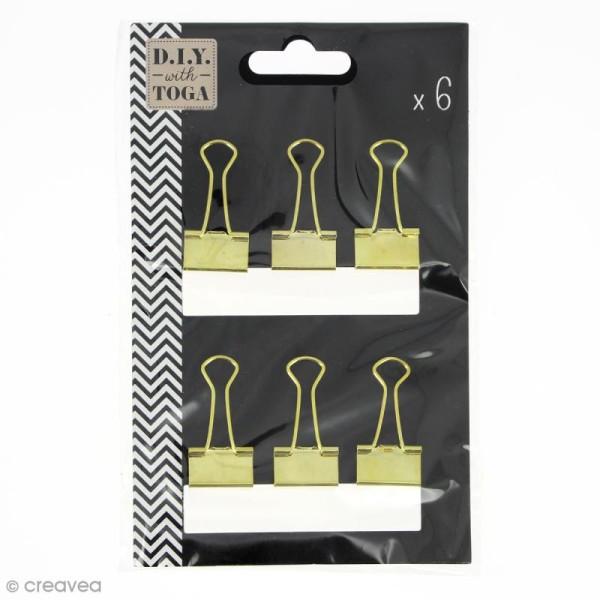 Pinces clip 3,8 x 1,9 cm - Dorées - 6 pcs - Photo n°1