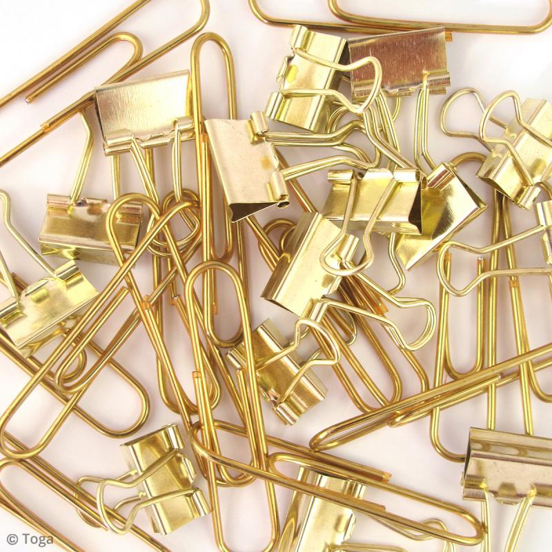 Set Maxi trombones et Pinces clip - Jaune doré - 30 pcs - Photo n°2