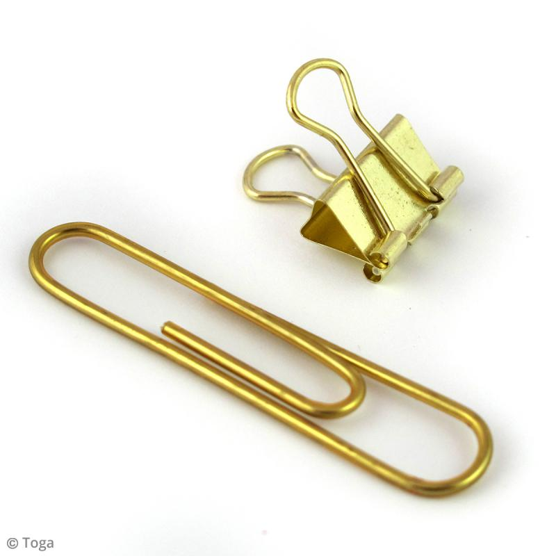 Set Maxi trombones et Pinces clip - Jaune doré - 30 pcs - Photo n°4