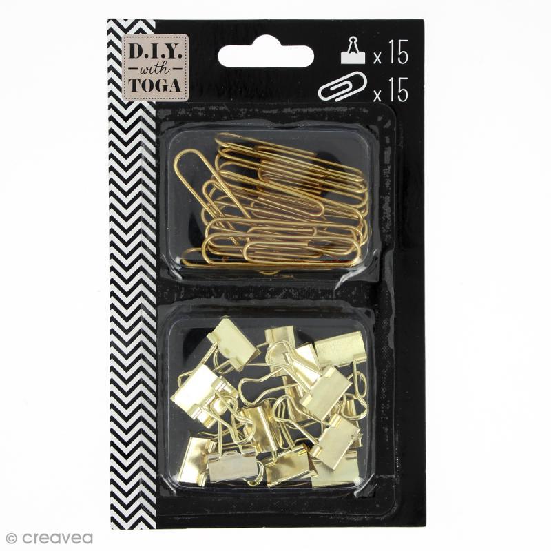 Set Maxi trombones et Pinces clip - Jaune doré - 30 pcs - Photo n°1