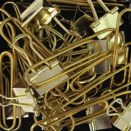 Set Maxi trombones et Pinces clip - Jaune doré - 30 pcs - Photo n°3