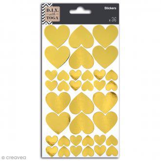 Stickers dorés - Coeurs - 36 pcs