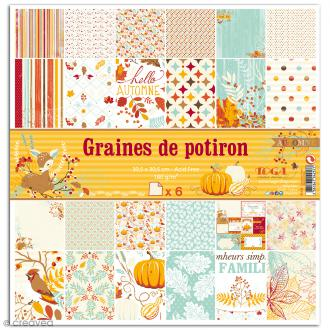Papier scrapbooking Graines de potiron - Set 6 feuilles - 30,5 x 30,5 cm