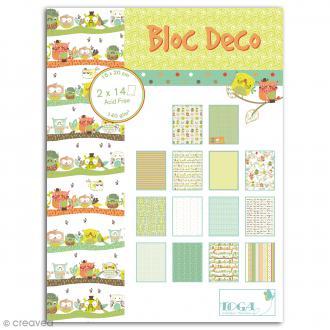 Bloc Deco Toga - Hiboux - 15 x 20 cm - 28 feuilles