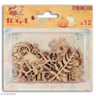Assortiment de formes en bois - Graines de potiron - 12 pièces