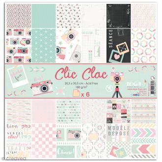Papier scrapbooking Clic Clac - Set 6 feuilles - 30,5 x 30,5 cm