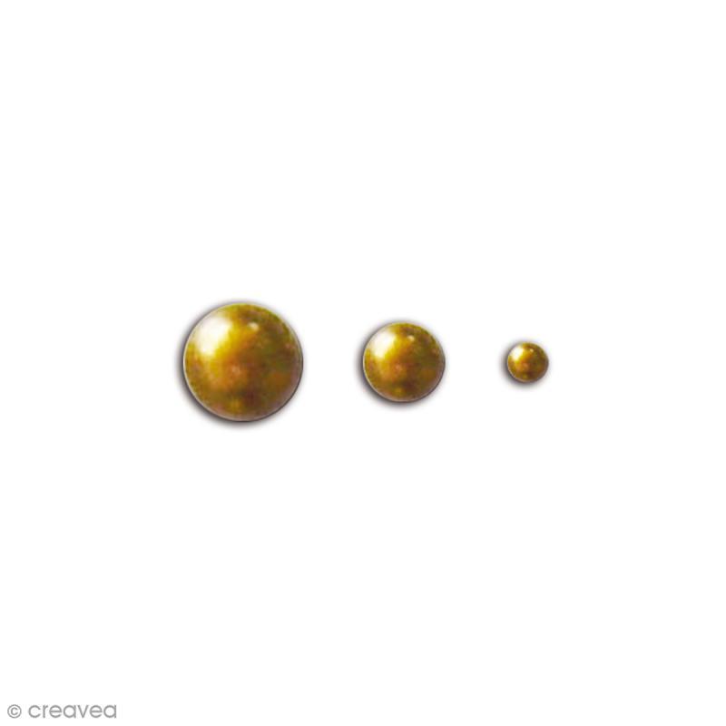Perles adhésives - Dorées - 50 pcs - Photo n°1