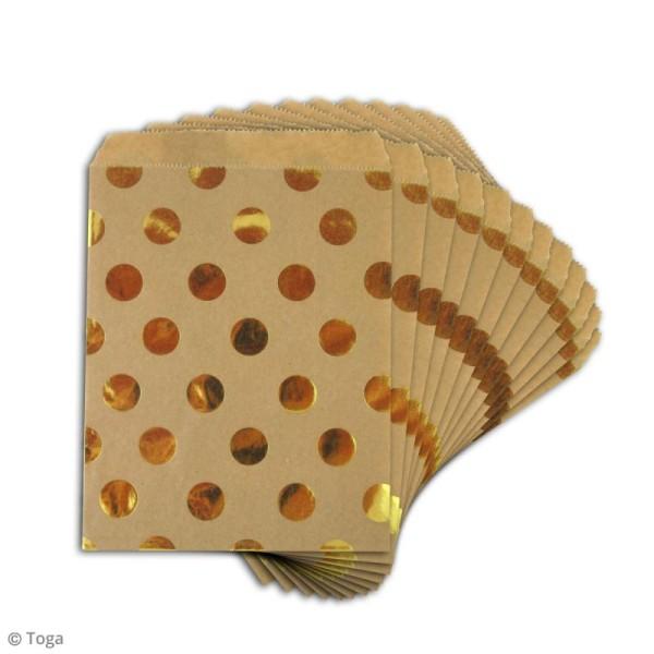Sachet cadeau papier kraft - Marron à pois dorés - 13 x 18 cm - 12 pcs - Photo n°2