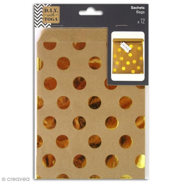 Sachet cadeau papier kraft - Marron à pois dorés - 13 x 18 cm - 12 pcs - Photo n°1