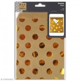 Sachet cadeau papier kraft - Marron à pois dorés - 13 x 18 cm - 12 pcs