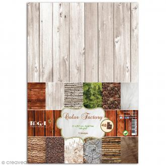 Papier scrapbooking Toga - Color factory - Naturel - 48 feuilles A4
