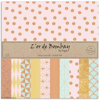 Papier l'Or de Bombay 30,5 x 30,5 cm - Doré / Cuivre / Menthe rose - 10 feuilles