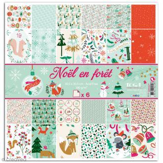 Papier scrapbooking Toga Noël en forêt - 6 feuilles 30,5 x 30,5 cm