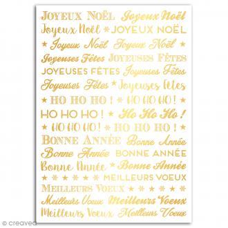 Rub-ons Transferts Mots de Noël dorés - 1 planche de décalcomanies - 15 x 21 cm