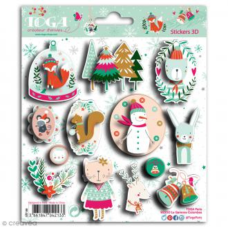 Stickers 3D Toga Noël en forêt - 14 pcs