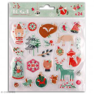 Stickers Puffies Toga Noël en forêt - 24 pcs